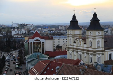 UKRAINE, IVANO-FRANKIVSK, FEBRUARY 23, 2017: View on the Greek Catholic Cathedral of the Holy Resurrection in Ivano-Frankivsk city from Ratusha or Town Hall - building in center of Ivano-Frankivsk
