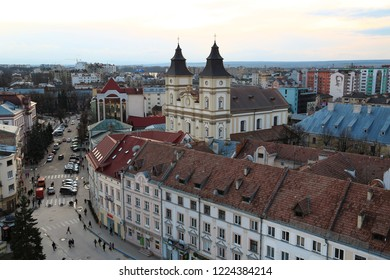 UKRAINE, IVANO-FRANKIVSK, FEBRUARY 23, 2017: View on the Greek Catholic Cathedral of the Holy Resurrection in Ivano-Frankivsk city from Ratusha or Town Hall - building in city center on Market Square