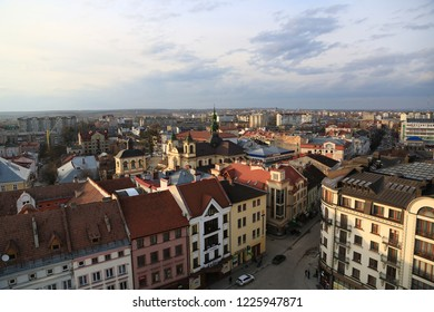 UKRAINE, IVANO-FRANKIVSK, FEBRUARY 23, 2017: View on the city from Ratusha or Town Hall in Ivano-Frankivsk city, building in center of Ivano-Frankivsk city on Rynok or Market Square