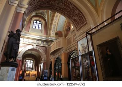 UKRAINE, IVANO-FRANKIVSK, FEBRUARY 23, 2017: Art museum inside church of the Blessed Virgin Mary in Ivano-Frankivsk city, western Ukraine