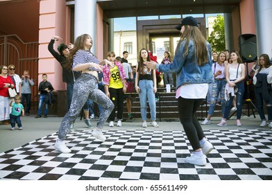 Ukraine, Ivano-Frankivsk, May 20, 2017: Concert on the festival of free music break dance and hip-hop children and teenagers amid cheerful spectators of the citizens of Eastern Europe