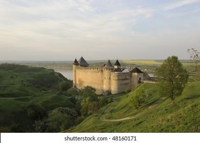 Ukraine. Kamenets-Podolsky. Hotin fortress on the bank of Dnestr river in spring