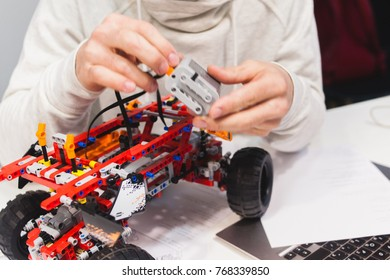 Ukraine, Kharkiv, 05.03.2017. Lego technic - a set of constructor, which is very complicated and common. These models move due to mechanical components, motor and moving axes