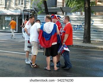 UKRAINE. KHARKIV. Ivanova Street. 13 June 2012. The russian football fans. The procession to the stadium. The match Netherlands - Germany.