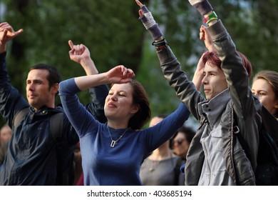 Ukraine, Kharkiv - May 17, 2015: People dancing during Street Music Day festival in Kharkiv.