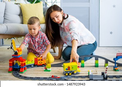 Ukraine, Kharkov, the family plays with the constructor of the company Lego 18.06.2017