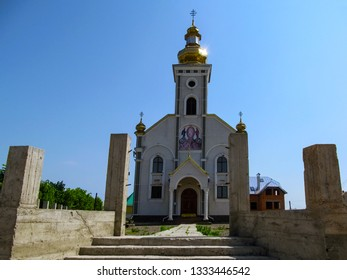 Ukraine, Khust - May 1, 2018: Greek Catholic Church of the Transfiguration of the Lord in Khust. The new temple of Lord's Transfiguration parish on Ivan Chendey street