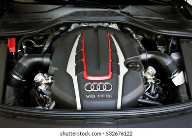 Ukraine, Kiev. 14 July 2015. The engine of Audi S8. Editorial photo.