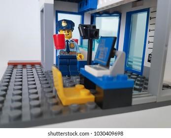 Ukraine, Kiev 21 February 2018 mini figure Lego police