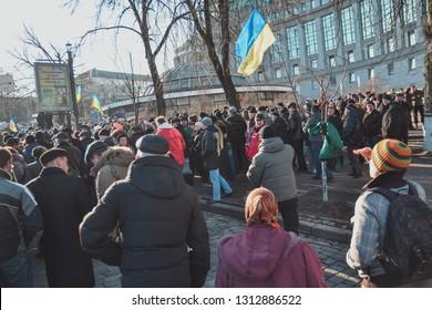 Ukraine, Kiev, February 18-20, 2014: Berkut shot people on Institutskaya street during EuroMaidan
