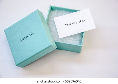 Ukraine, Kiev - January 18, 2017: Tiffany Open box with a white card and the name of the company