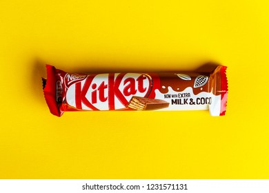 Ukraine, Kiev March 29, 2018.Kit Kat chocolate bar on white background. Bars Kit Kat is produced by Nestle company.