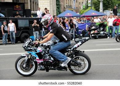 UKRAINE, KIEV - MAY 29: Bikers meeting and show on Kiev City Day. May 29, 2010 in Kiev, Ukraine.