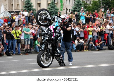 UKRAINE, KIEV - MAY 29: Bikers meeting and show on City Day. May 29, 2010 in Ukraine