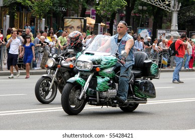 UKRAINE, KIEV - MAY 29: Bikers meeting and show on City Day. May 29, 2010 in Kiev, Ukraine