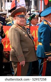 UKRAINE, KIEV - MAY 9: Ceremonial parade at Kiev main street - Khreshchatyc - dedicated to the 65th Anniversary of victory in Great Patriotic War (World War II). Parade of victory. Kiev, May 9, 2010.