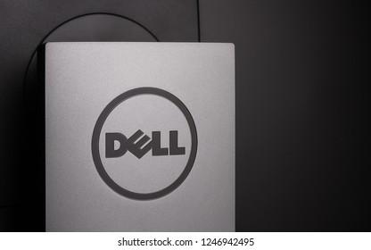 Ukraine, Kiev – October 31 : Dell logo on monitor back on 31/10/2018 in Kiev