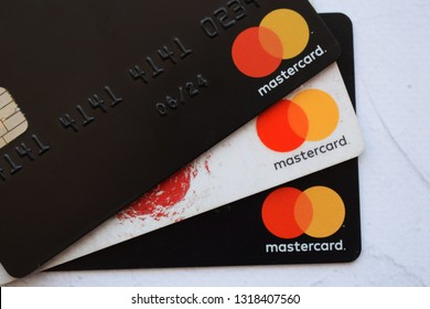 Ukraine, Kremenchug - February, 2019: Mastercard plastic electronic card macro close up view