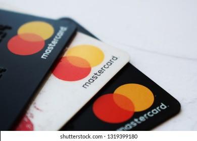 Ukraine, Kremenchug - February, 2019: Mastercard Credit Card Sign Close Up.
