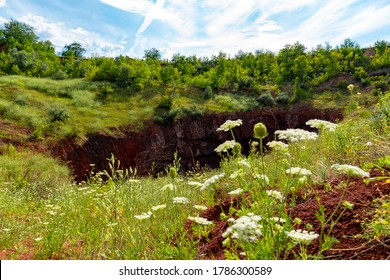 Ukraine, Krivoy Rog, the 16 of July 2020. Earth sinkhole in the abandoned  park outskirts of the city.