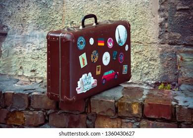 UKRAINE, KYIV, 1 JANUARY 2019: old used travel leather case of the traveler