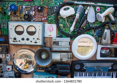 Ukraine, Kyiv - April 6, 2019: Old Electrical Devices are a phase-sensitive voltmeter, high-frequency signal generator, an electrocardiograph, and more.