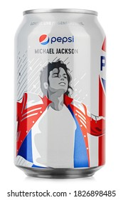 Ukraine, Kyiv - August 21. 2020: Pepsi is a carbonated soft drink on white background, produced and manufactured by PepsiCo. Limited collection Michael Jackson. File contains clipping path.