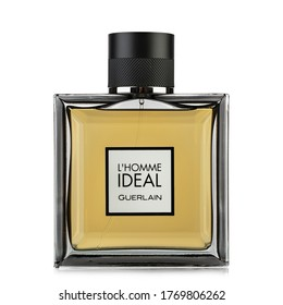 Ukraine, Kyiv - June 1. 2020: L'Homme Ideal perfume by Guerlain on white background. Insulated packaging for catalog. File contains clipping path.