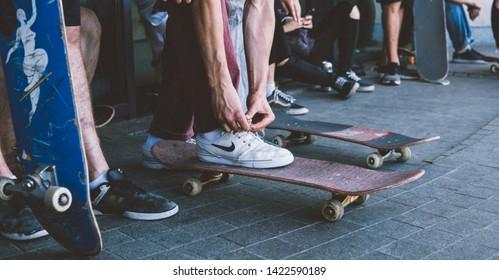 Ukraine, Kyiv - June 21 2018: Go Skateboarding Day. World Skateboarding Day in Kyiv. Professional riders skate the streets