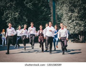 "Ukraine, Kyiv - May 31, 2018: Schoolboy. Graduates. High school students at a school ball. holiday ""Last Call"""