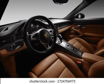 Ukraine, Kyiv - May 5 : Porsche 911 interior details