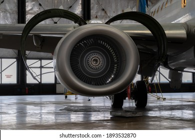 Ukraine, Kyiv - November 25, 2020: Details of the turboprop engine. Airplane propeller. Turbine mechanism and device. Screws the inside of the device. Blade and blades
