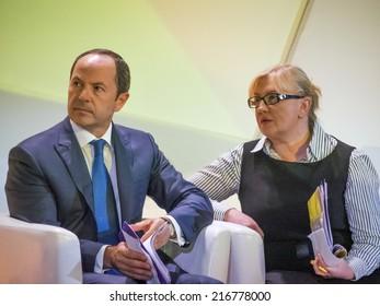UKRAINE, KYIV - September 11, 2014: Sergei Tigipko and Svetlana Fabricant.
