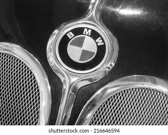 UKRAINE, KYIV - September 11, 2014:Close up detail of a BMW 327 in Dream Town Mall, Kiev, Ukraine