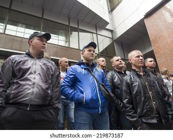 """UKRAINE, KYIV - September 26, 2014: Former employees of """"Berkut"""" came to support his commander. Court of Appeal set aside the appeal prosecution in a criminal case against the Sadovnik"""