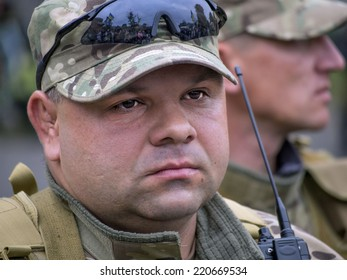 """UKRAINE, KYIV - September 30, 2014: From Kiev to the war zone went advance party of the battalion of special purpose """"Sich""""."""