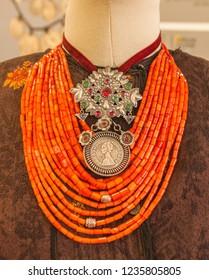 "UKRAINE, KYIV-20 NOV 2018: 20 Nov.2018 at National Museum of History of Ukraine opened exhibition ""Sun on necklace. Dukach"" of Ukrainian old national jewelry, Kiev, Ukraine"