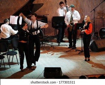 "UKRAINE, LUGANSK - February 14, 2014: Lugansk Philharmonic Jazz Ensemble ""Combo"" today's concert dedicated to the world day of lovers"