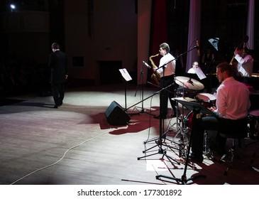 "UKRAINE, LUGANSK - February 14, 2014: Lugansk Philharmonic Jazz Ensemble ""Combo"" today's concert dedicated to the world day of lovers"