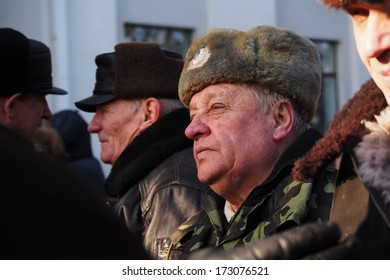 UKRAINE, LUGANSK - JANUARY 25, 2014: man is a meeting participant Party of Regions organized pro-government rally in Lugansk. It was attended by members of city's ten largest business, the Enterprise.