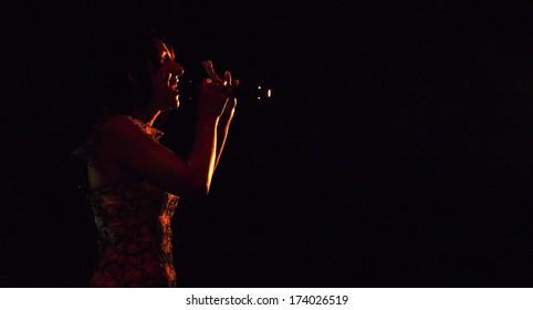 UKRAINE, LUGASK - September 13, 2013: The famous Ukrainian opera and jazz singer Jamala (Born Susana Dzhamaladinova) gave a the  concert in Luhansk. Jamala performs original music