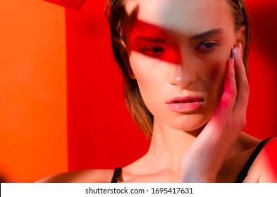 Ukraine, Lviv, 08/01/2019: Very beautiful model Sofia, photo shoot in color light