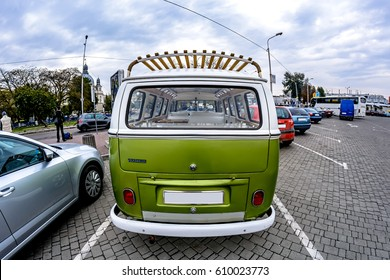 Ukraine, Lviv - 15 October, 2015: German classic Volkswagen Transporter van in the parking lot. Back view