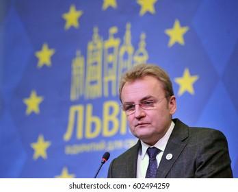 Ukraine, Lviv - December 26, 2013: Mayor of Lviv Andriy Sadovyi speaks during a meeting with residents of Lviv.