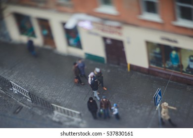 Ukraine, Lviv - JANUARY 2, 2015: Residents and tourists in the streets of Lviv. Photographed creative lens Lensbaby Edge 80 Optic.