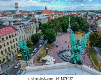 Ukraine, Lviv July 3, 2019: Extremely beautiful panorama of romantic Lviv, from the height of the bird's eye. Lviv is the cultural capital of Ukraine and is a favorite destination for tourists .