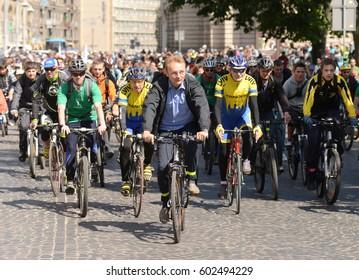 Ukraine, Lviv - May 25, 2013: Mayor of Lviv Andriy Sadovyi (C) at the bicycle during the All-Ukrainian Bike Day (Veloden) in Lviv.