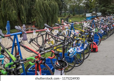 UKRAINE, LVIV - SEPTEMBER 2018: Sports bicycles in the parking area in the transfer area of the triathlon competition