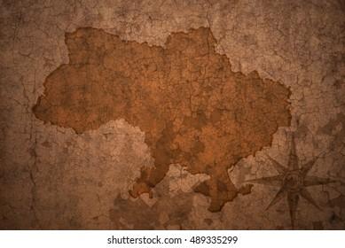 ukraine map on a old vintage crack paper background