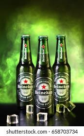 Ukraine Mariupol - June 12, 2017. Heineken Lager Beer (Dutch: Heineken) or simply Heineken is a pale beer with 5% alcohol by volume produced by the Dutch brewing company Heineken International.